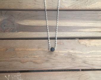 Essential Oil Diffuser Necklace, Lava Rock Bead, Silver