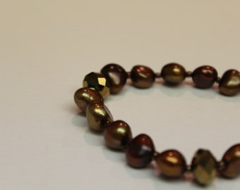 FREE SHIPPING Freshwater pearl bracelet GENUINE