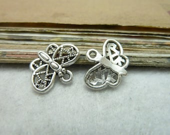 BULK 50 Butterfly Charms Antique Silver Tone - DYS7810