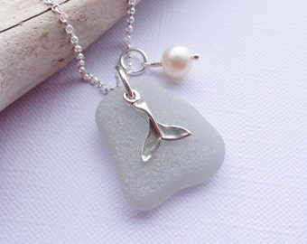 Rare Grey Sea Glass from Scotland ~ Scottish Sea Glass and Sterling Silver Whale Tail Necklace