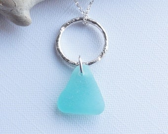 Rare BRIGHT BLUE / TURQUOISE Sea Glass from Scotland Sterling Silver Necklace - Stunning Scottish Sea Glass