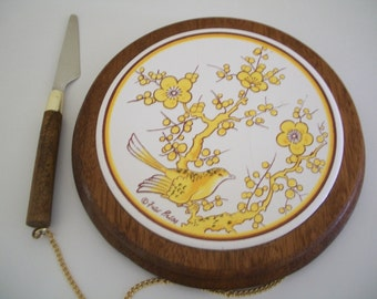 Cheese board, Fred Press, wood with ceramic inset, detachable knife on chain
