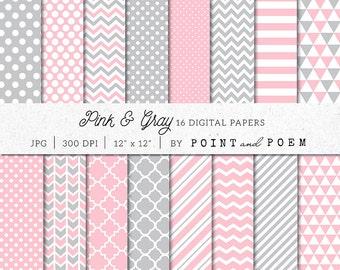 Pink Gray Digital Paper Pack, Pink Digital Scrapbook Paper Pack, Gray Digital Paper, Chevron, Polka dot, Stripes