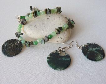 Jade Jewelry Set Necklace & Earrings Vintage Jade Set, Natural Jade Stone, Jade Handmade Beaded Necklace Boho Jewelry, Genuine Retro Jewelry
