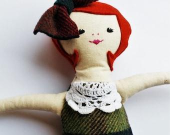 Rag doll, cloth doll, 1920s doll, handmade doll, vintage style ragdoll, redhead