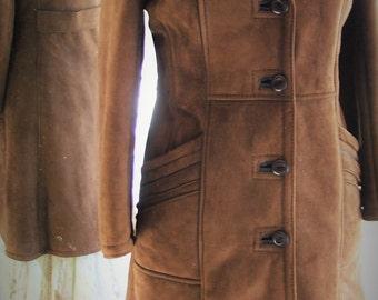 Vintage Leather suede knee length winter coat