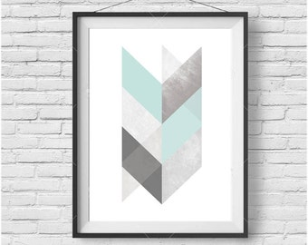 Mint and Grey Chevron Geometric Print, Scandinavian Printable Art, Light Turquoise Print, Teal Art, Downloadable Large Print