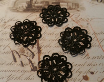 blackened brass lace filigree connectors 6 pc
