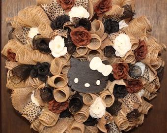 Hello Kitty Inspired Burlap, Black and Leopard Print Deco Mesh Wreath