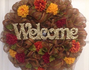 WELCOME Autumn / Fall Deco Mesh Wreath