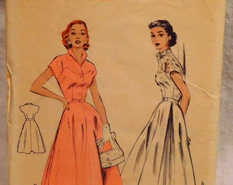 Butterick 6572 One Piece Dress Vintage 1950 Sewing Pattern