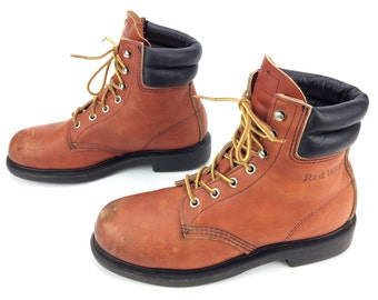 Red Wing Boots 2369 Vintage Women's Lace Up Steel Toe Work Boots USA Made Sz 7 B