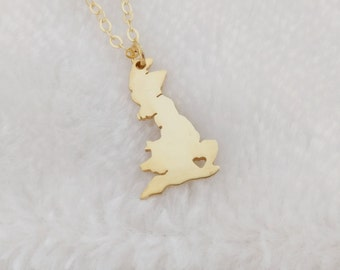 UK Necklace,Great Britain Necklace,England Shaped Necklace,United Kingdom Necklace,Any Country Necklace,Gold UK Charm Necklace with A Heart