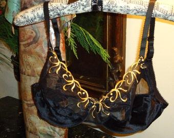Vintage, Victorias's Secret, Black and Gold Bra, Size 36 C
