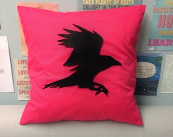 Raven - Bright Pink Unique Flying Bird Cushion Pillow Cover with a Black Felt Design Gothic 14 16 18 20 22 24 inch Size Large