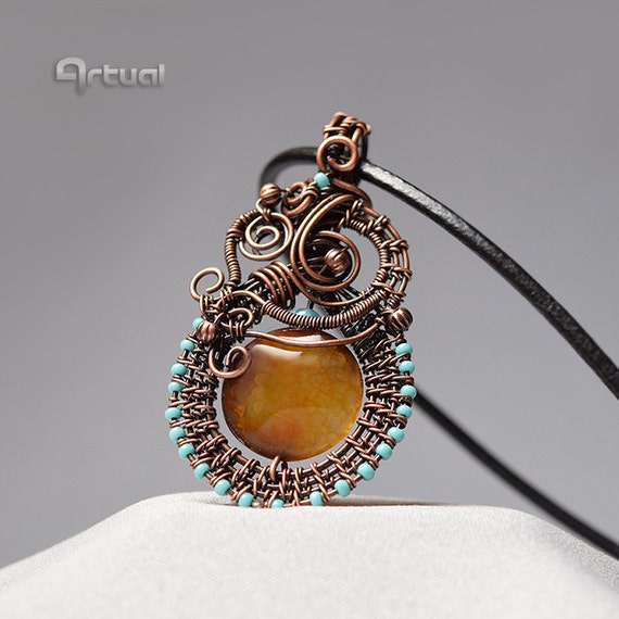 gemstone jewelry copper pendant wire jewelry turquoise by