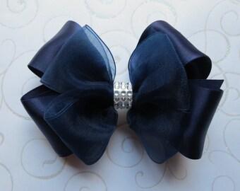 Navy Satin hair bow 7 colors! Black Silver Burgundy White Ivory organza 4 inch rhinestone bling Medium toddler bow clip barrette Cici's