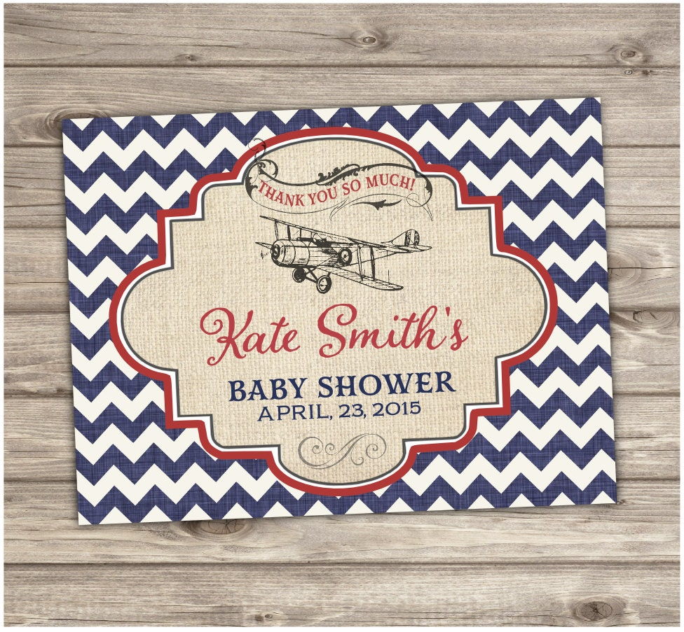 Vintage Baby Shower Thank You Cards: Airplane Thank You Cards Baby Shower Invitations Rustic Red