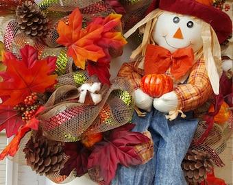 Happy Scarecrow Autumn Wreath
