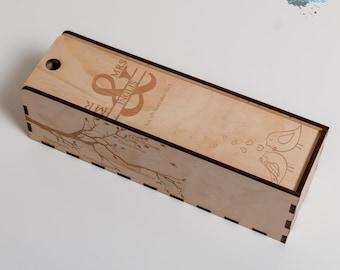 Wooden Wine Box - Single Bottle - Laser Engraved - Personalised Gift Box - Custom Wine Box