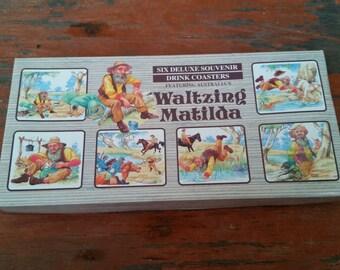 Waltzing Matilda Six Deluxe Souvenir Coasters In Original Box - Made In Austrailia