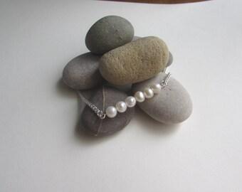 Real Pearl Bracelet, Freshwater Pearl Bracelet, Real Pearls, June Birthstone, Sterling Silver Bracelet