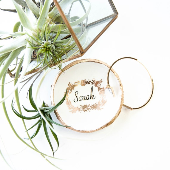 personalized gold wreath jewelry dish ring dish catch