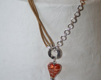 Three in one necklace with red filigrana heart pendant