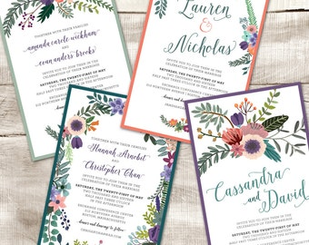 Floral wedding invitation, custom printable wedding invitation, rsvp card, thank you card, digital,