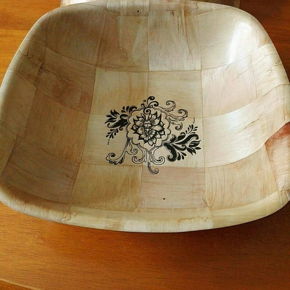 FLORAL laser engraved bowl NATURAL bamboo unique fruit / egg basket / nik naks table decoration flower art
