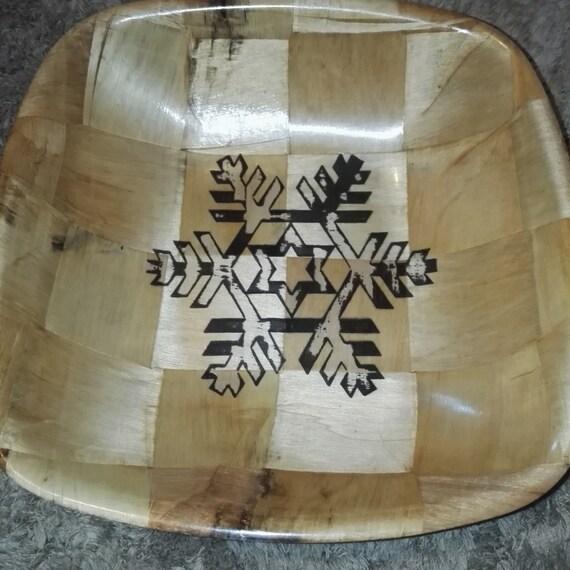Christmas Snowflake hand painted engraved NATURAL bamboo wooden bowl