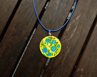 Blue flowers pendant, Blue and yellow necklace, romantic necklace, floral jewelry, handpainted pendant, cornflowers pendant, folklore style