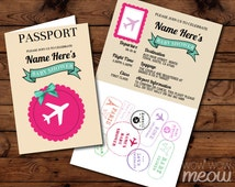 Passport Baby Shower Invitation DOWNLOAD Pink Airline Ticket Invite Flight Plane Girl Twins Couple Airplane Fly Cream Personalize Printable