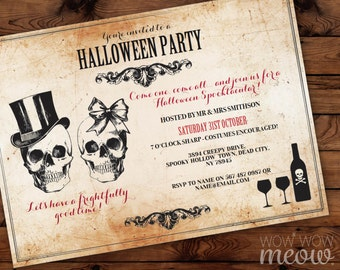 Skull Halloween Party Invitations Printable INSTANT DOWNLOAD Rose Cross Bones Invite Sugar Celebration Personalized Editable Edit & Print