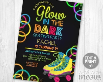 Glow in the Dark Skating Invitations Roller Skate Party Invite Birthday INSTANT DOWNLOAD Neon Girls Boys Personalize Editable Printable