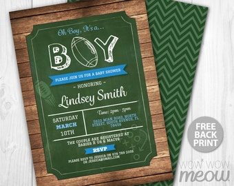Football Baby Shower Invitations It's a Boy Invite INSTANT DOWNLOAD Sports Personalize Digital Couples Party Editable & Printable Customize
