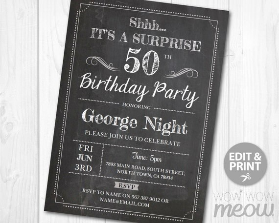 Surprise 50th Birthday Invitations FIFTY Invite Chalk Board