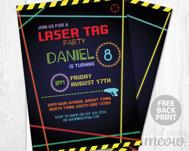 It is a photo of Terrible Laser Tag Invitations Free Printable