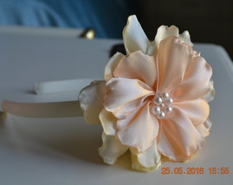 "Hair band/hair accessory, with flower handmade kanzashi-Hairband/headband with handmade flower ""Heavenly"""
