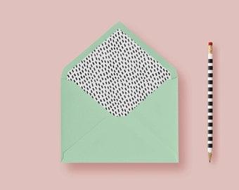 Raindrops Envelope Liner Striped Envelope Liner, A7 Envelope Liner, Euro Flap Envelope  - Printable Envelope Liners DIY or Printed Liner