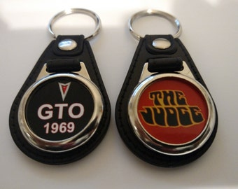 1969 PONTIAC GTO and the JUDGE keychain 2 pack classic fob muscle car logo