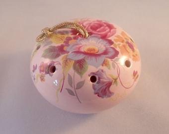 Vintage Pretty Pink Floral Ceramic Pomander