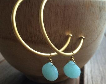 Creole earrings - Hoop earrings with precious stone - Gold plated hoop earrings - Dangle earrings - Bridesmaid gift