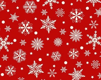 "White Snowflakes in Red Christmas Fabric/""Purely Christmas"" collection_8298-88"