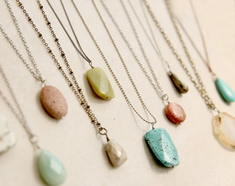 Long Boho Stone Necklace, Gift for Mom, Create your Own Layered Look, Simple Jewelry, Bohemian Necklace, Layering Necklace,  Long Necklace