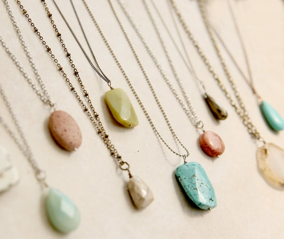 Design Make Your Own Jewellery: Long Boho Stone Necklace Gift For Mom Create Your Own
