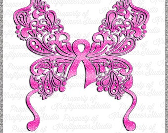 Breast Cancer SVG Awareness Butterfly SVG Paisley Butterfly SVG Cancer Butterfly svg Ribbon svg cut file for Cricut Silhouette Scan N Cut Co