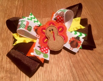 Thanksgiving Hair Bow, Turkey, Toddler Bow, Boutique Bow
