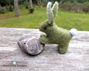 Stuffed bunny, felt bunny rabbit, felt Easter bunny, stuffed animal, woodland animal
