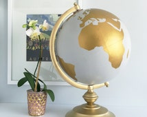 Globe, Guestbook Globe, World Globe Custom Color and Quote, Guest Well Wishes, Wedding Guestbook, and/or Home Decor Centerpiece Hand Painted